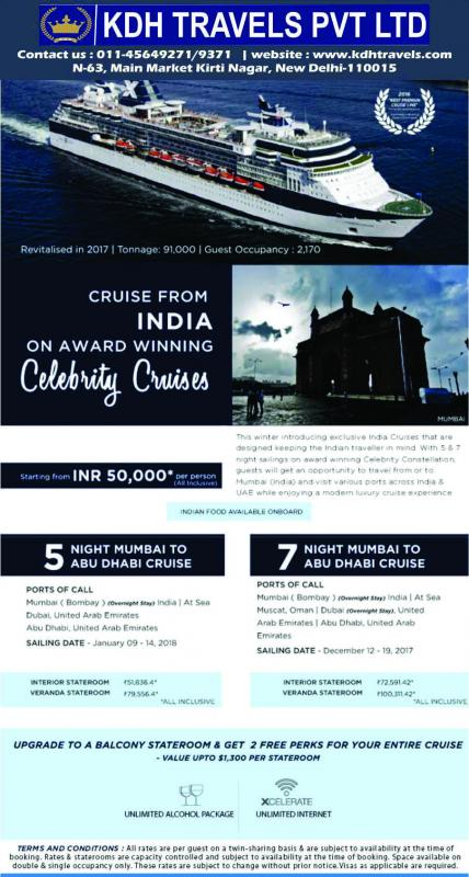 Cruise from India on Celebrity Cruises